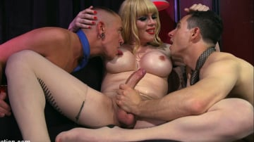 Corbin Dallas - TS Dominatrix Jesse Fucks a Submissive Man and a TS Man in all Their Whore Holes!!